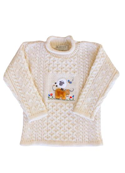Kids Aran Embroidered Sheep Sweater