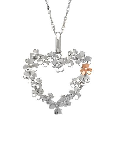 9K White Gold Love Shamrock Heart Diamond Set Pendant
