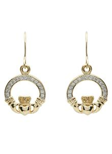 10K Gold Claddagh Pave Set Drop Earrings