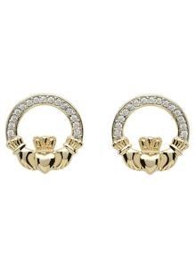 10K Gold Claddagh Pave Set Stud Earrings
