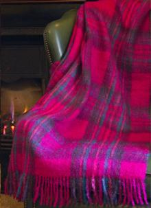 Blarney Mohair Throw - Wild Fuchsia Check