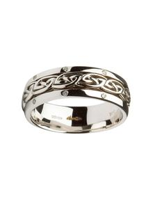 Ladies 14K White Gold Celtic Knot Wedding Ring