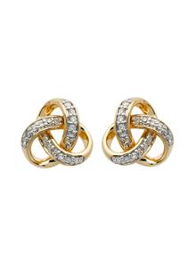 14K Gold Diamond Set Trinity Stud Earrings