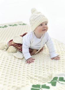 Hand-Knit Baby Aran Hat & Mitts Set