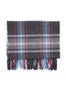 Merino Wool Scarf Navy Check