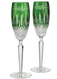 Waterford Crystal Clarendon Emerald Flute Pair