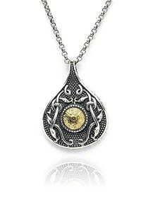 18K Gold & Sterling Silver Viking Teardrop Pendant