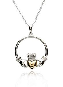 Sterling Silver and 14K Gold Claddagh Pendant