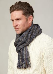 Wool Cashmere Donegal Tweed Denim Scarf