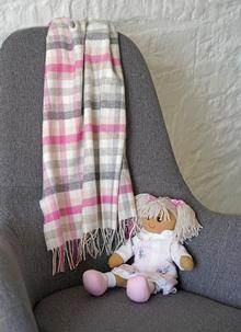 Pink Stripe Wool Cashmere Baby Wrap