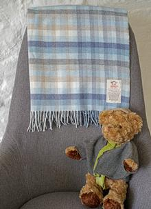 Blue Stripe Wool Cashmere Baby Wrap
