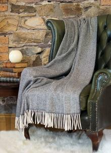 Charcoal Herringbone Wool Cashmere Throw