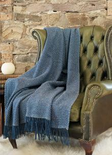 Blue Donegal Wool Cobble Stitch Throw