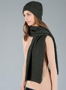 Unisex Cable Scarf - Army Green