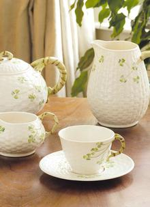 Belleek China Shamrock Tea Cup & Saucer