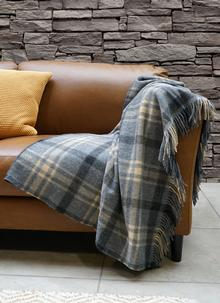 Blarney Gray And Beige Lambswool Throw