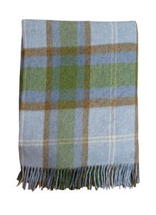 Blarney Lambswool Throw Blue and Green
