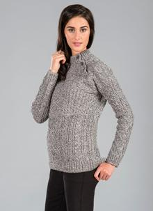 Bridget Side Button Aran Sweater