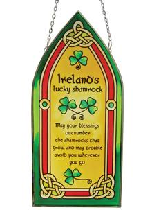 Lucky Irish Shamrock Gothic Glass Panel
