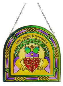 Stained Glass Claddagh Ring Arch Suncatcher