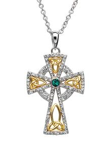 b1dfde3cc0 Celtic Cross Gold Plated Pendant Embellished With Swarovski Crystals ...