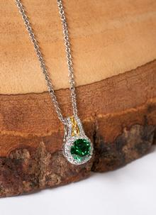 Celtic Silver Green Stone Halo Pendant