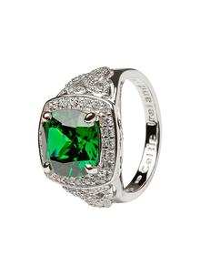 Celtic Silver Stone Trinity Halo Ring Green