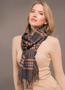 Merino Wool Scarf Gray Taupe Check