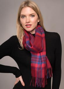 Merino Wool Scarf Red Check