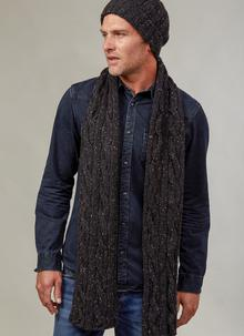 Fisherman Donegal Fleck Beanie & Scarf Set Black