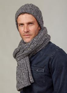 5fe9b53726e89 Fisherman Donegal Fleck Beanie   Scarf Set Dark Grey