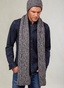Fisherman Donegal Fleck Beanie & Scarf Set Dark Grey