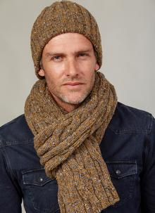 Fisherman Donegal Fleck Beanie & Scarf Set Honeygrey