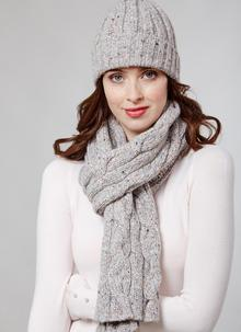 Fisherman Donegal Fleck Beanie & Scarf Set Light Grey