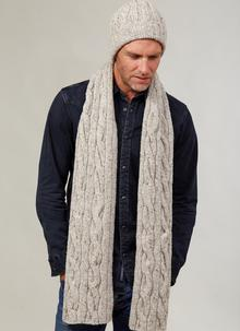 Fisherman Donegal Fleck Beanie & Scarf Set Natural