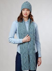Fisherman Donegal Fleck Beanie & Scarf Set Seagreen