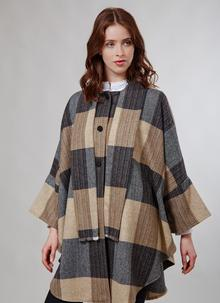 Donegal Tweed Scarf Cape Camel