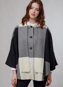 Donegal Tweed Short Scarf Cape Black