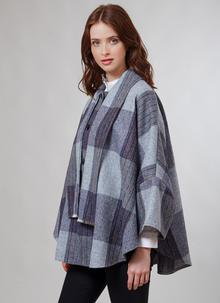 Donegal Tweed Short Scarf Cape Denim