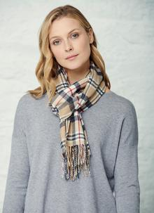 Extra Fine Merino Wool Scarf Camel Check