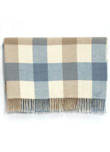 Pale Blue Merino Twill Check Throw
