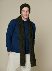 Fisherman Donegal Fleck Beanie & Scarf Set Hunter Green