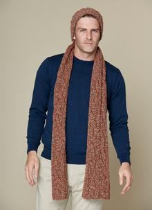 Fisherman Donegal Fleck Beanie & Scarf Set Terracotta