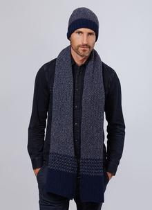 Fisherman Wool Cashmere Seed Stitch Hat & Scarf Set - Ink