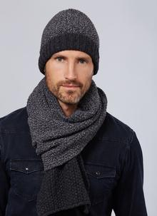 Fisherman Wool Cashmere Seed Stitch Hat & Scarf Set - Slate