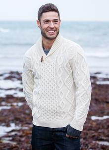 Fisherman Aran Shawl Collar Sweater