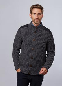 Fisherman Wool Cashmere Color Block Ribbed Cardigan