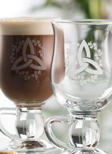 Galway Crystal Trinity Knot Irish Shamrock Latte Glasses (Pair)