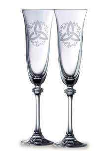 Galway Crystal Trinity Knot And Shamrock Flute (Pair)