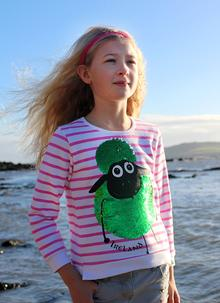 Girls Reversible Sequin Sheep Sweatshirt